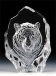 Tiger Head Leaded Crystal Sculpture