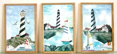 Set of 3 Lighthouse Wall Plaques