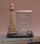 Glass Imprint Lighthouse Trophy