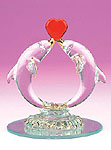 Kissing Dolphins with Heart Glass Figurine